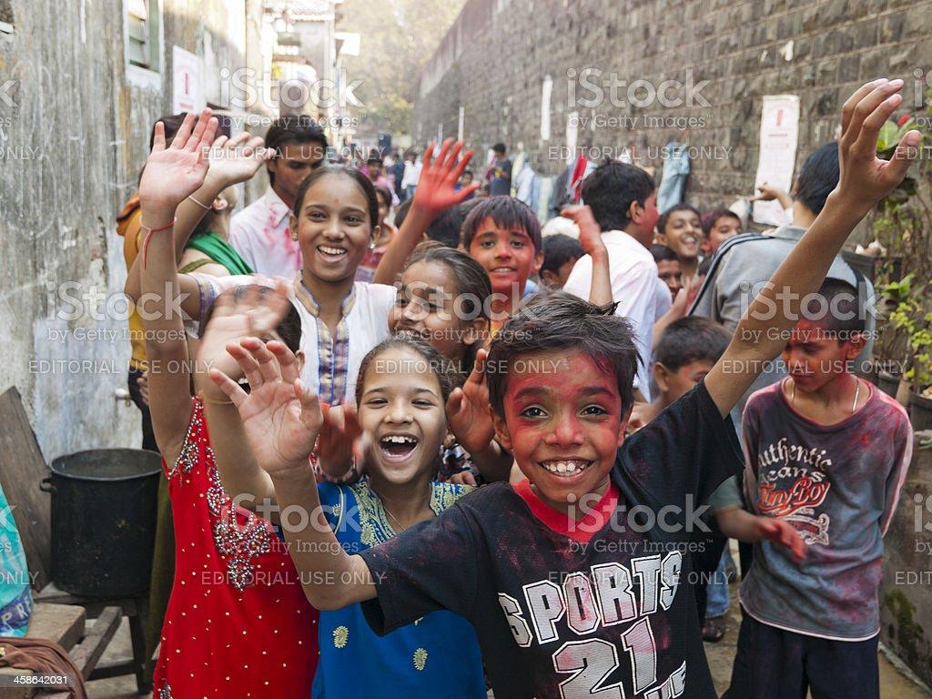 Children in the Dharavi Slum, Mumbai stock photo
