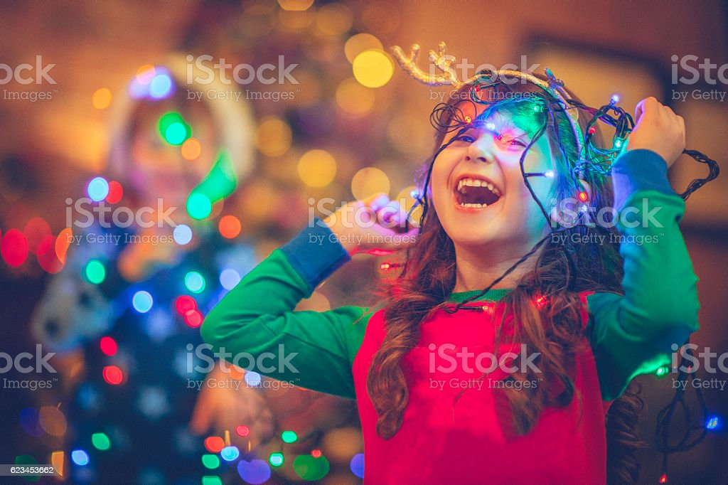 Children in Xmas stock photo