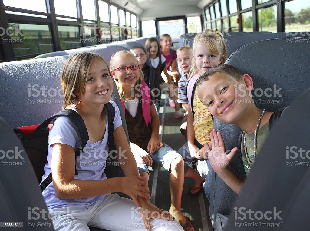 Children inside school bus stock photo