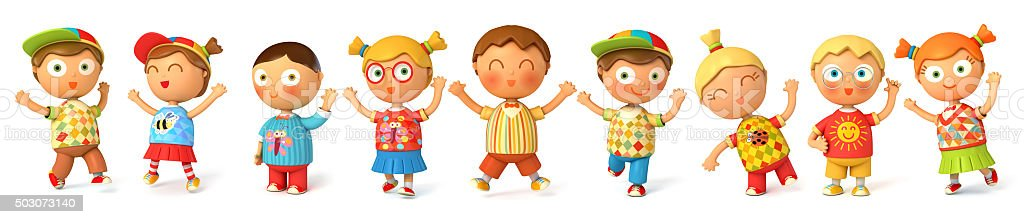 Children jump for joy stock photo