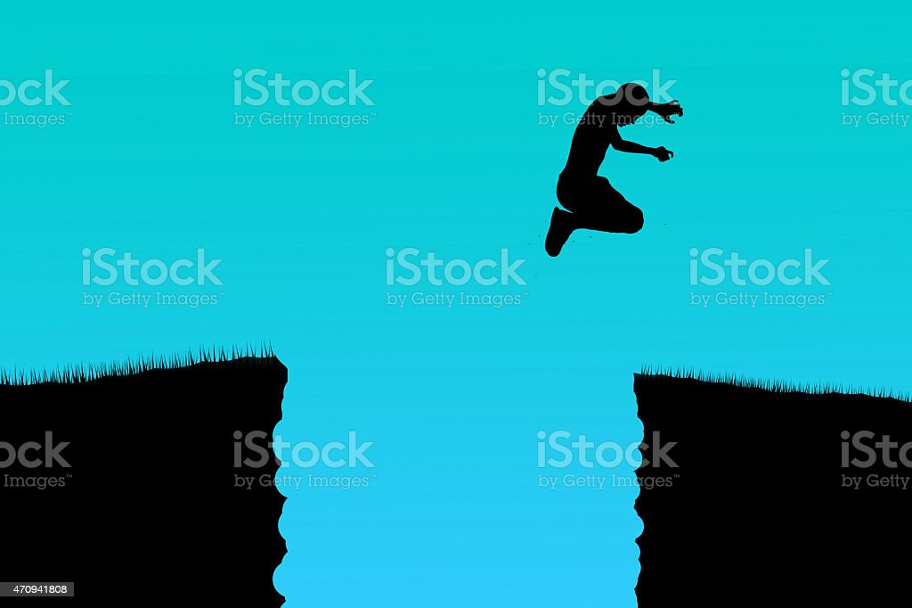 Children jump over the cliff stock photo