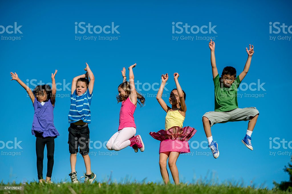 Children Jumping in the Air stock photo