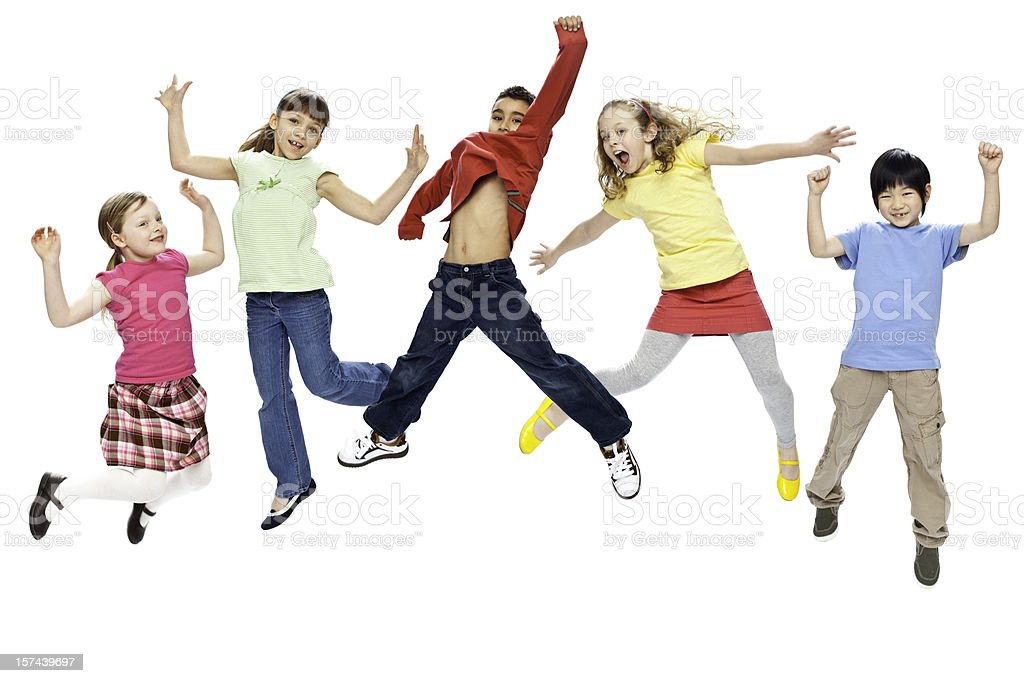 Children Jumping (Isolated; XXXL) royalty-free stock photo