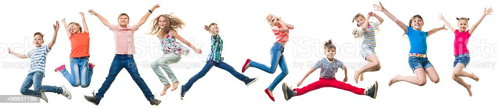 Children Jumping stock photo