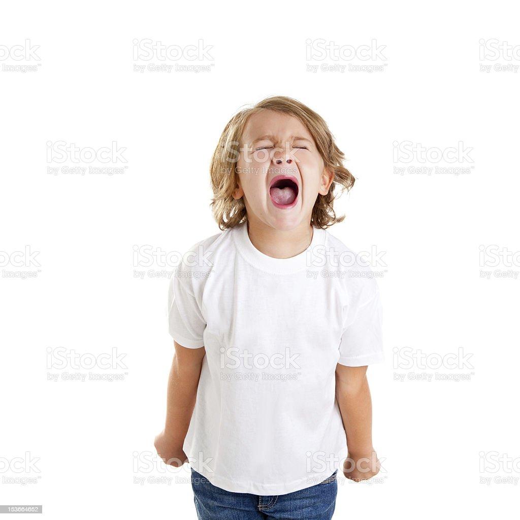 children kid screaming expression on white stock photo