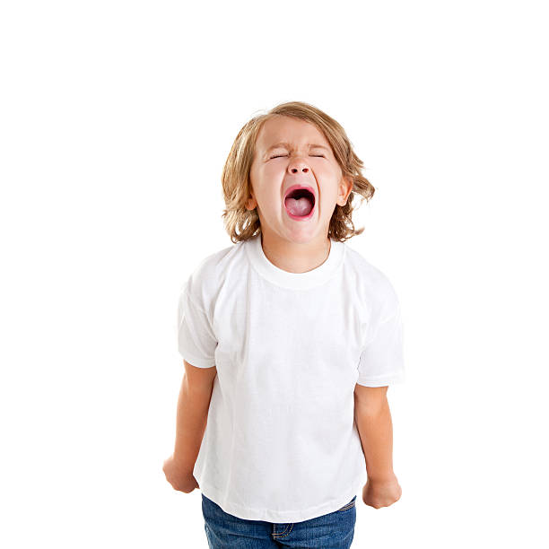 children kid screaming expression on white - gillen stockfoto's en -beelden