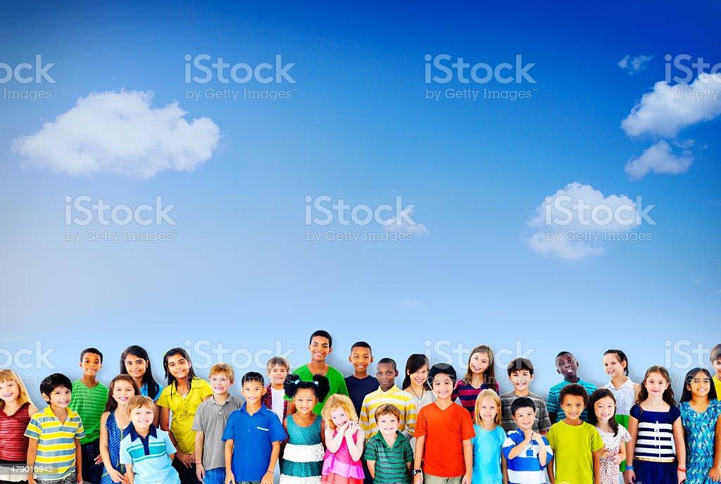Children Kids Childhood Friendship Happiness Diversity Concept stock photo