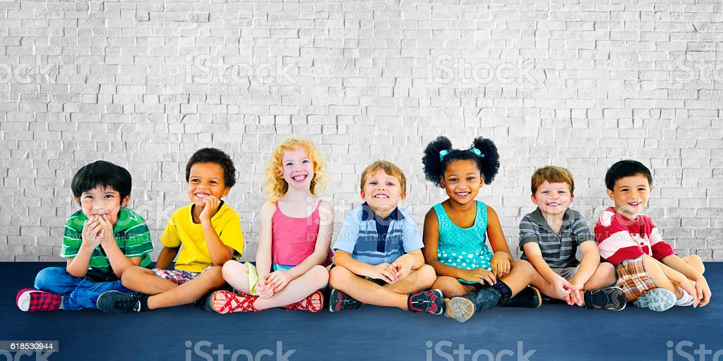 Children Kids Happiness Multiethnic Group Cheerful Concept stock photo