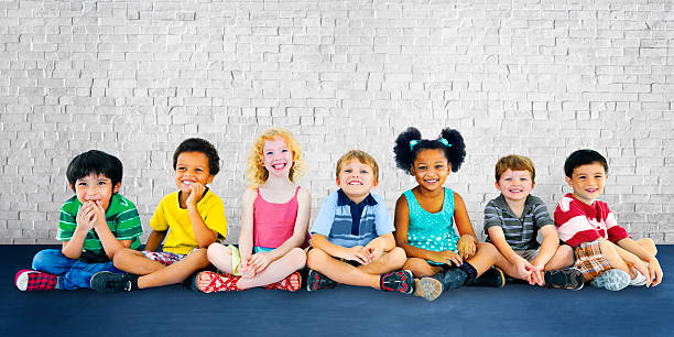 children kids happiness multiethnic group cheerful concept - preschool stock photos and pictures
