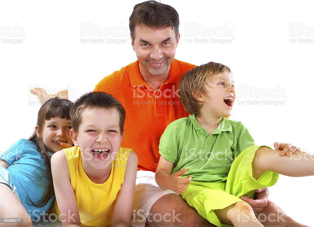 Children laughing with uncle royalty-free stock photo
