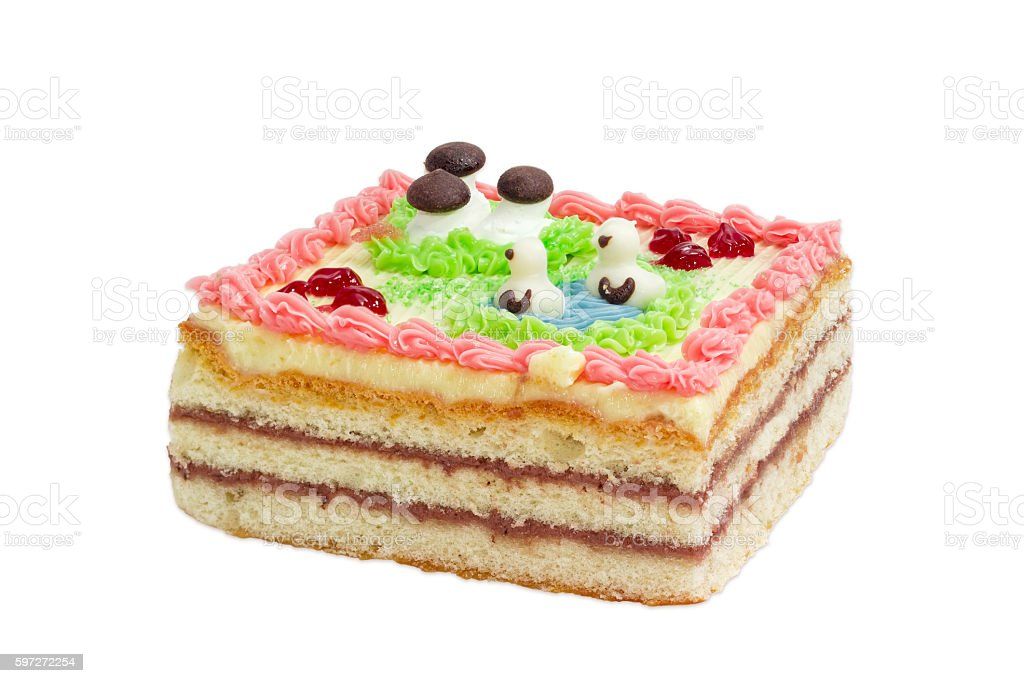 Children layered cake on a light background royalty-free stock photo