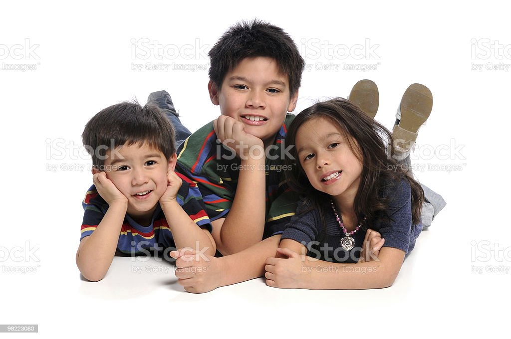 Children Laying on Floor royalty-free stock photo