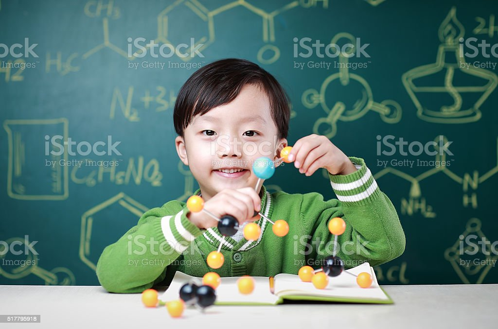 Children learn chemistry stock photo