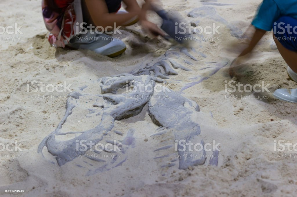 Children learning about, Excavating dinosaur fossils simulation. stock photo