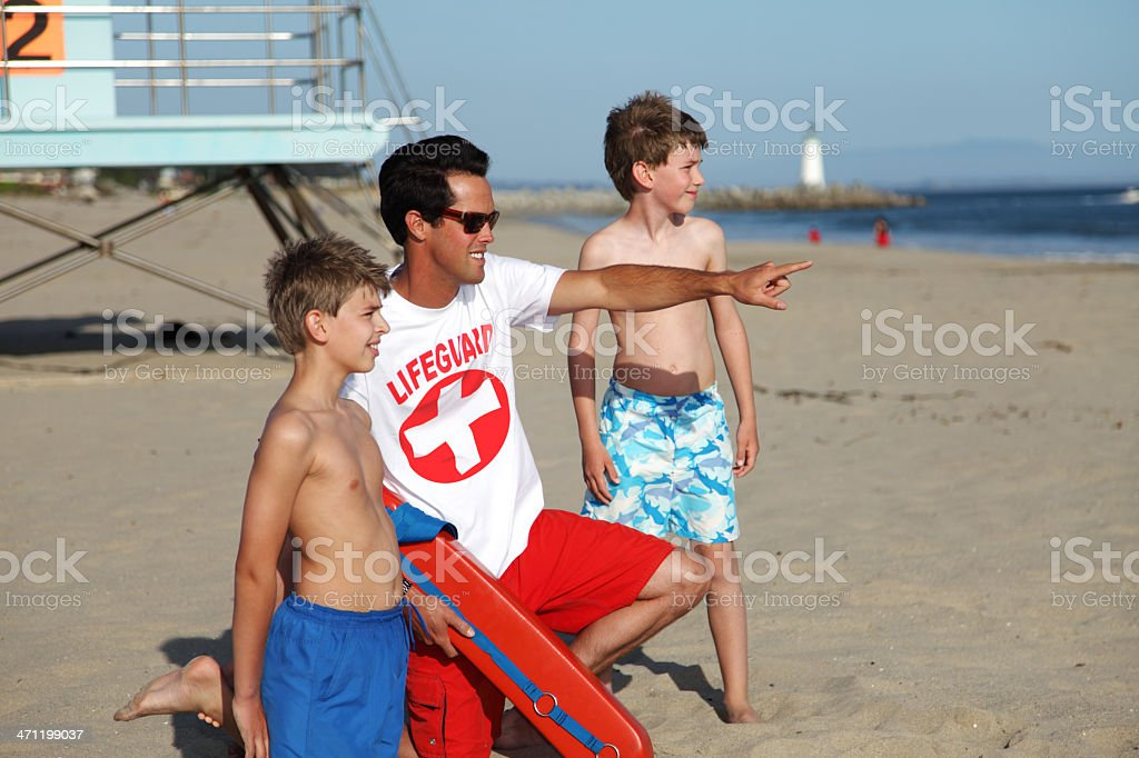 Children Learning From The Lifeguard royalty-free stock photo