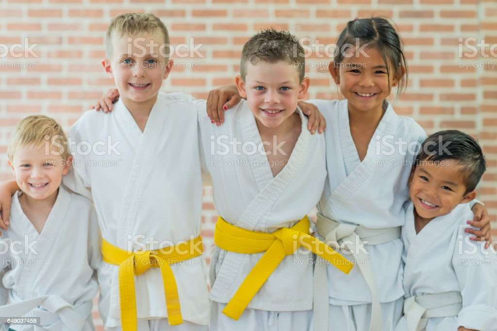 Children Learning Martial Arts stock photo