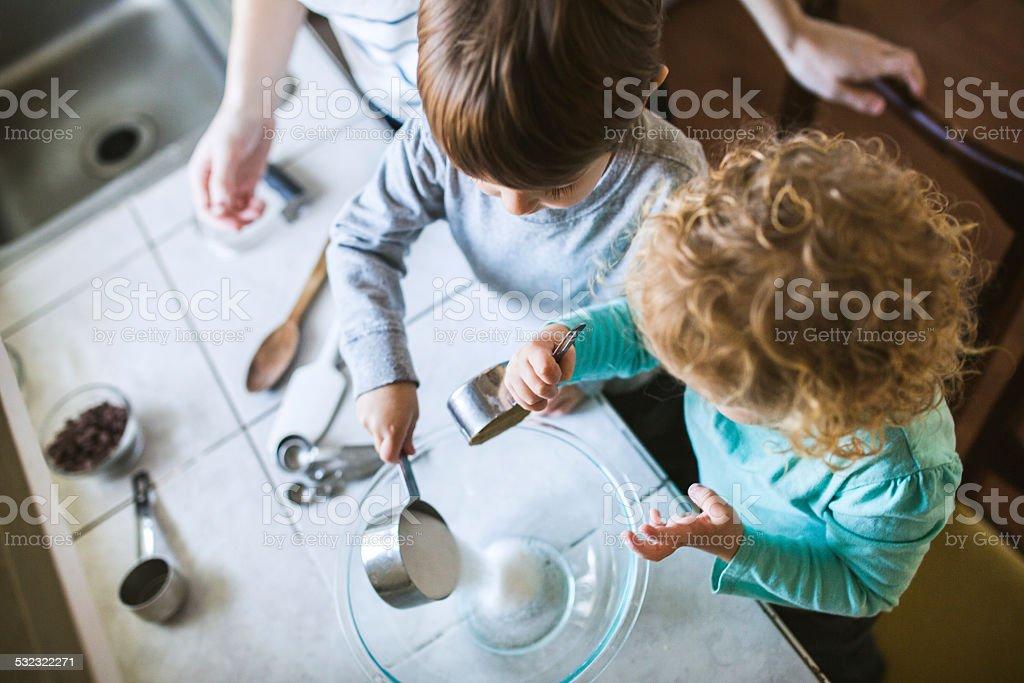 Children Learning to Bake stock photo