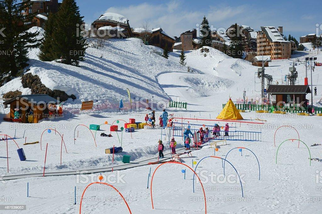 Children learning to ski in Avoriaz stock photo