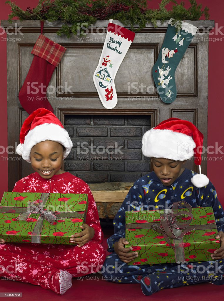 Children looking at presents royalty-free stock photo
