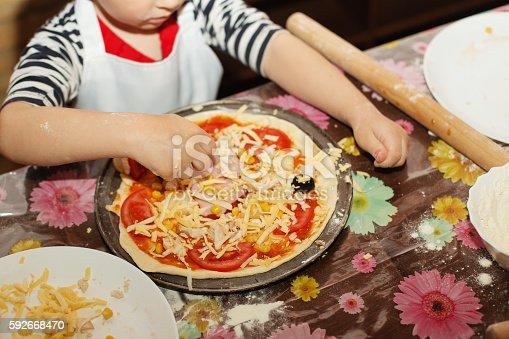 istock Children make homemade pizza 592668470