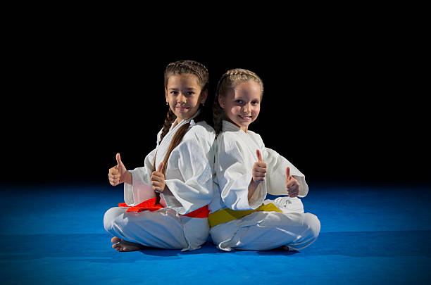 children martial arts fighters - karate stock-fotos und bilder