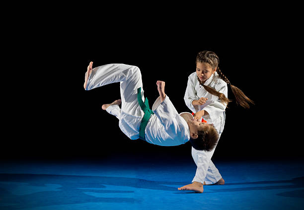 Children martial arts fighters stock photo