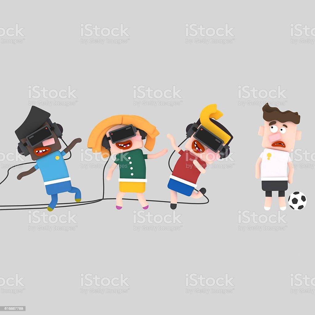 Children navigating the virtual world - foto de stock