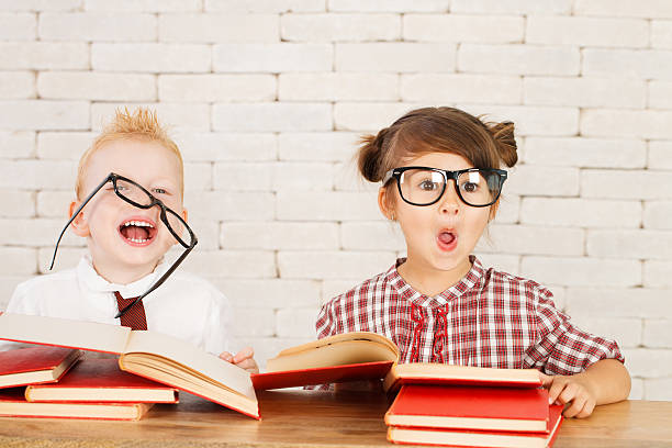 Children nerds stock photo