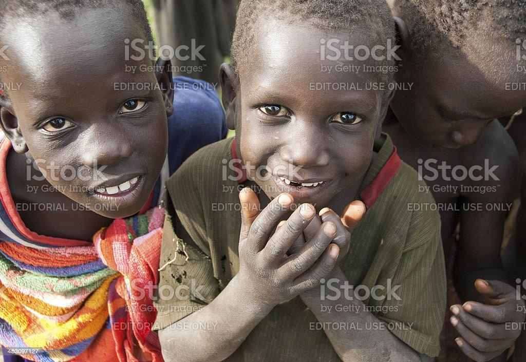 Children of an IDP Camp, Uganda. stock photo
