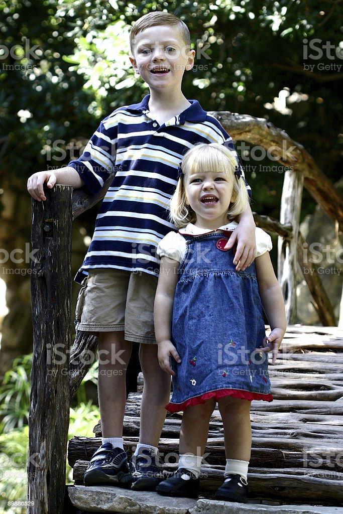 Children on a Bridge royalty-free stock photo