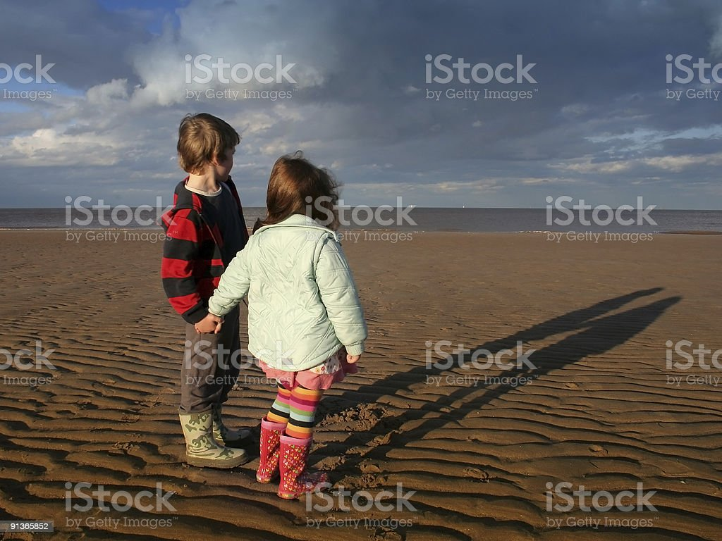 Children on Beach stock photo