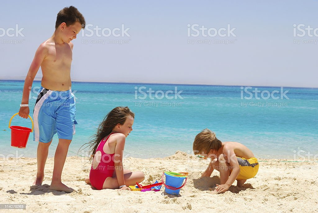 Children on Desert Island royalty-free stock photo