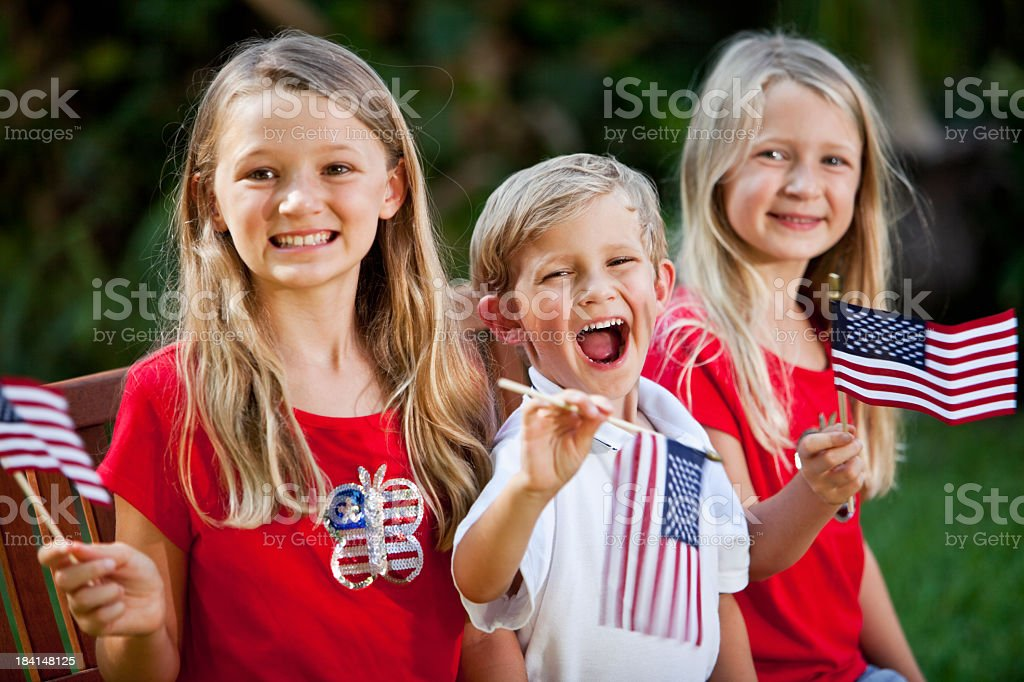 Children on Fourth of July or Memorial Day royalty-free stock photo