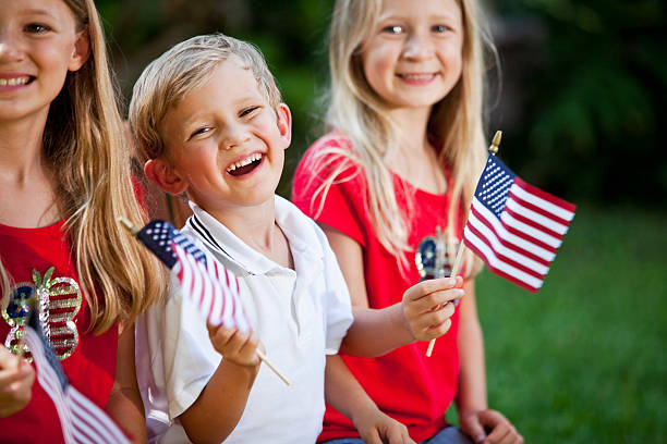 Children on Fourth of July or Memorial Day stock photo