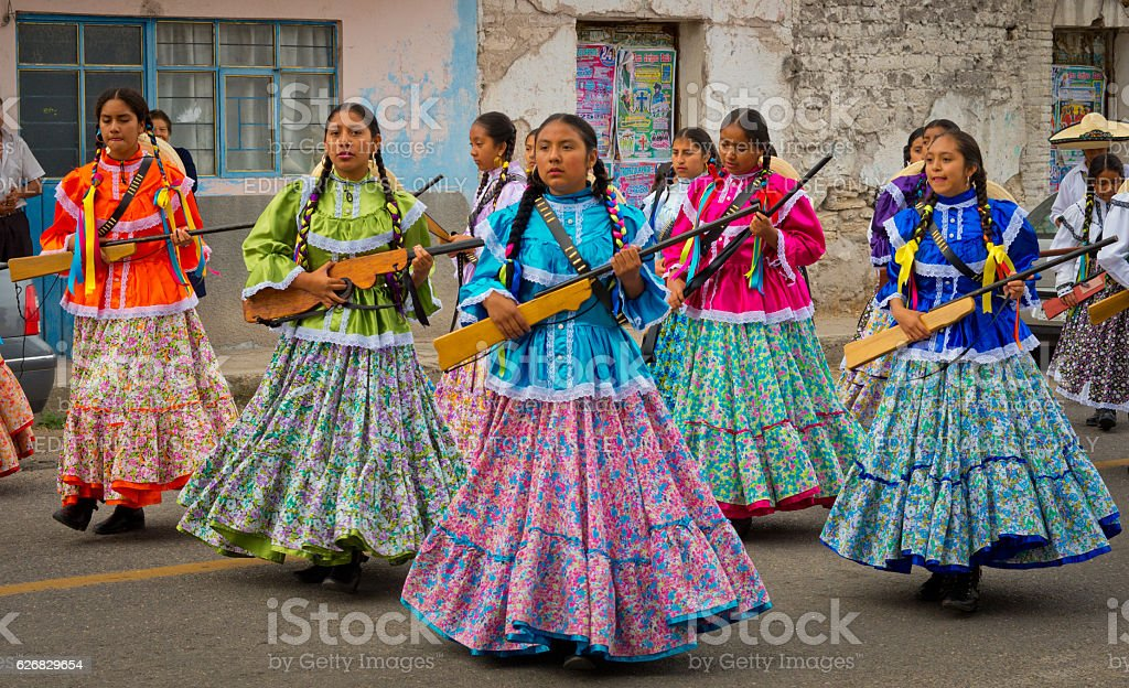 Children on Parade on Mexico Revolution Day. stock photo
