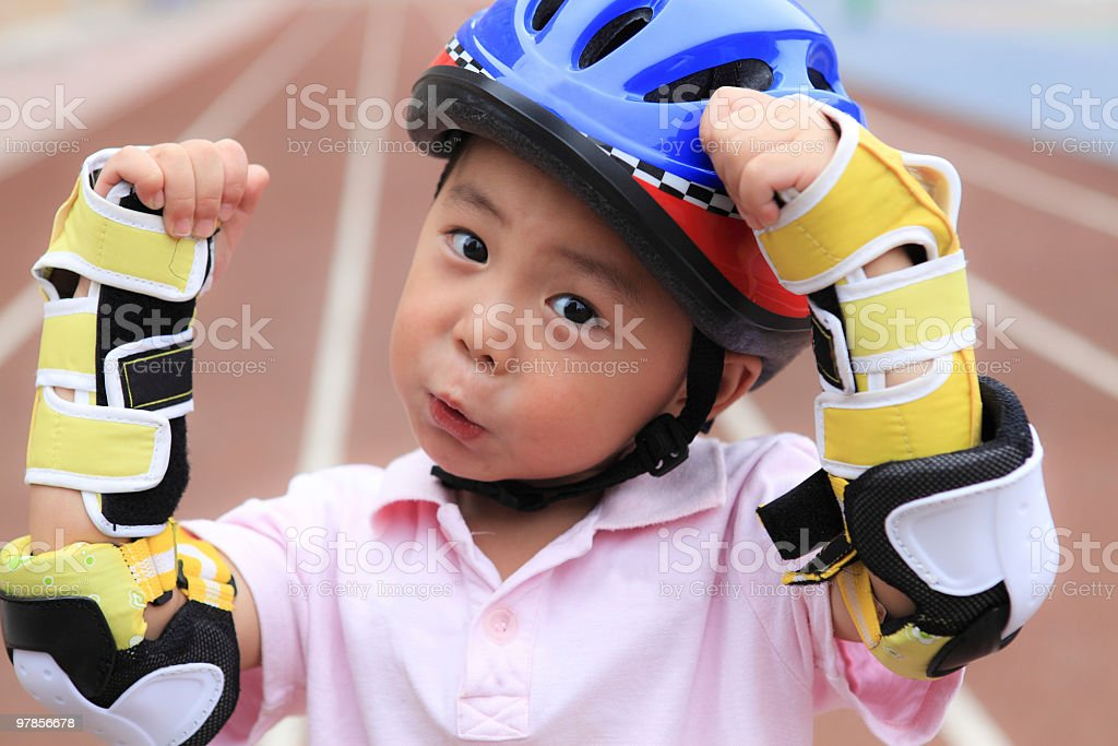children on rolers stock photo