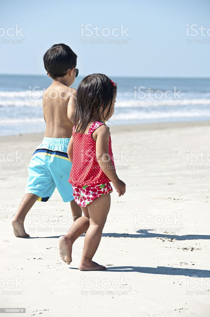 children on the beach royalty-free stock photo