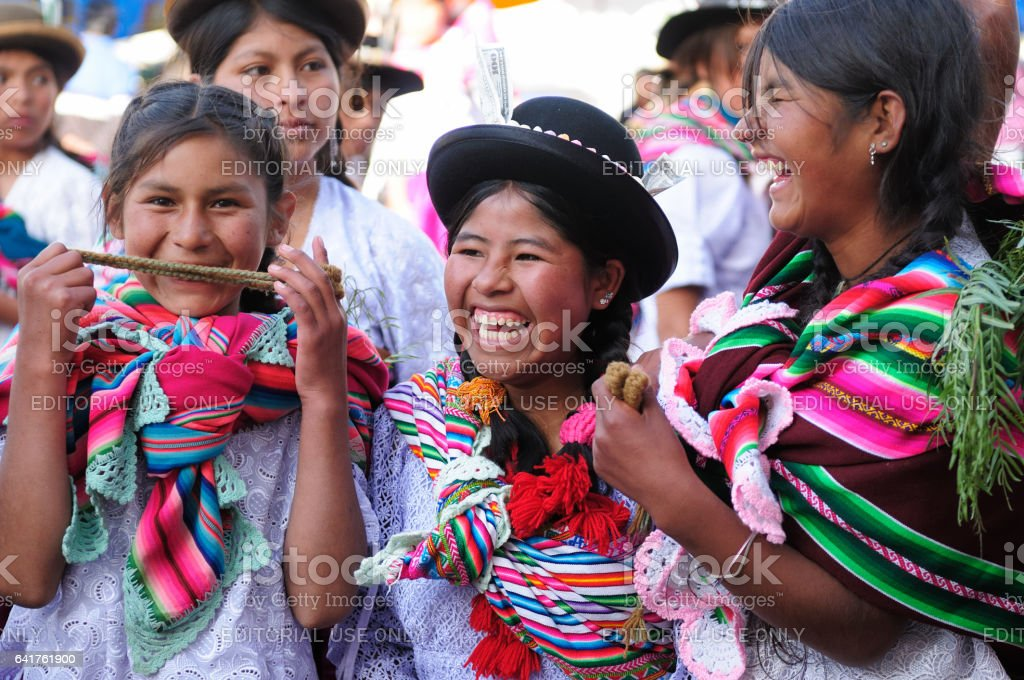 Children on the South American fiesta stock photo
