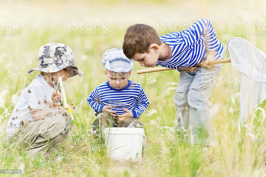 Children on walk at the meadow royalty-free stock photo