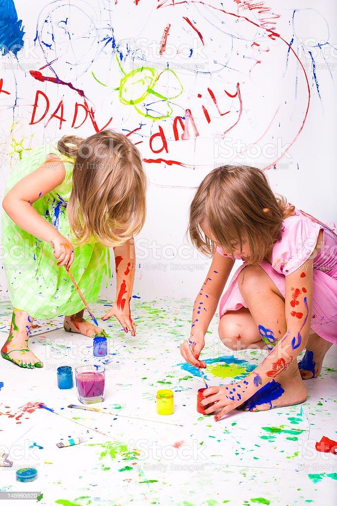 children paint royalty-free stock photo