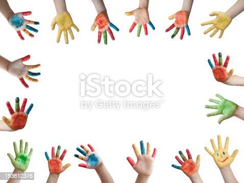 istock Children painted hands 153812376
