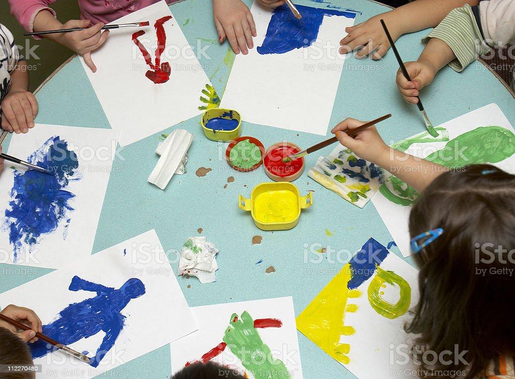 children painting royalty-free stock photo