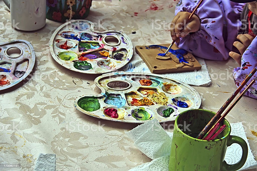 Children Painting Pottery Royalty Free Stock Photo