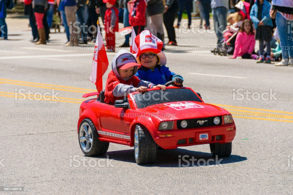 Children Parading During The Polish Constitution Day Parade stock photo