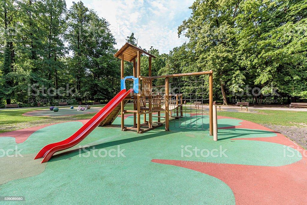 Children playground area in city park stock photo