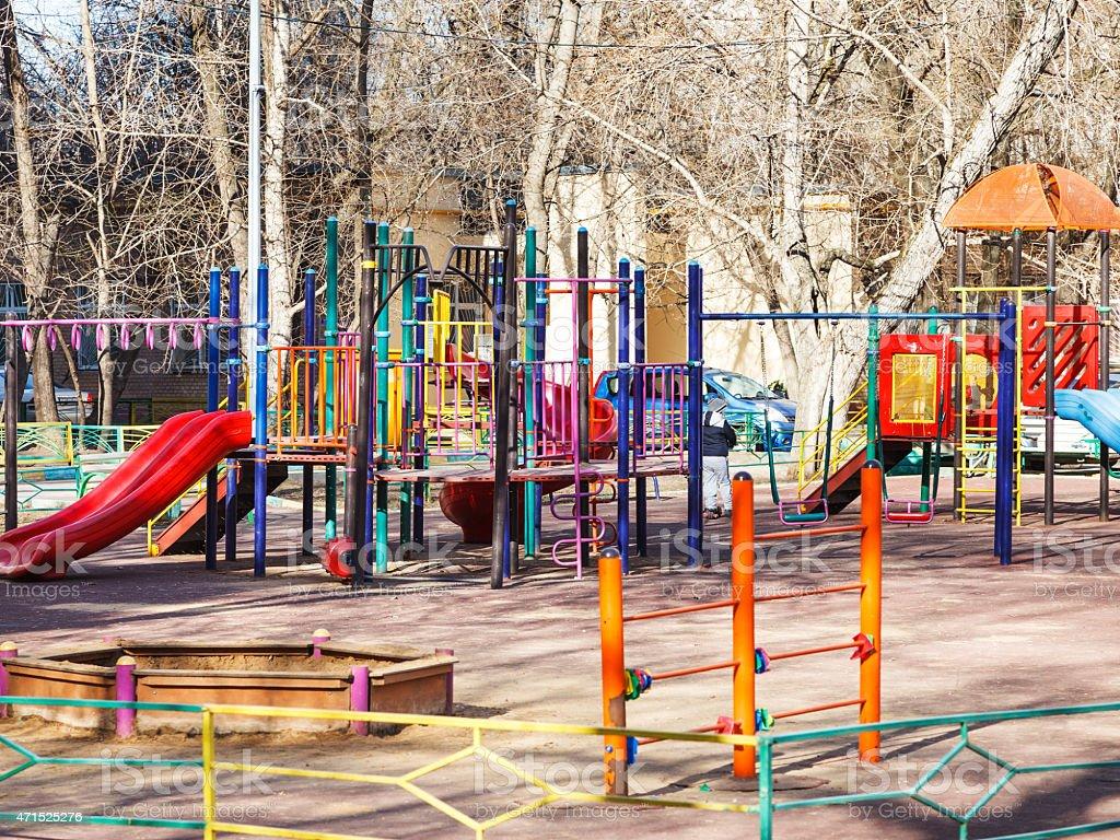 children playground in urban yard stock photo