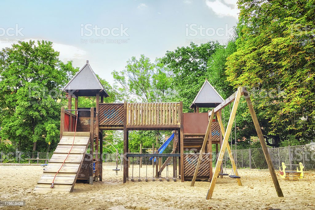 Children playground Children wooden public playground in Berlin, Germany Active Lifestyle Stock Photo