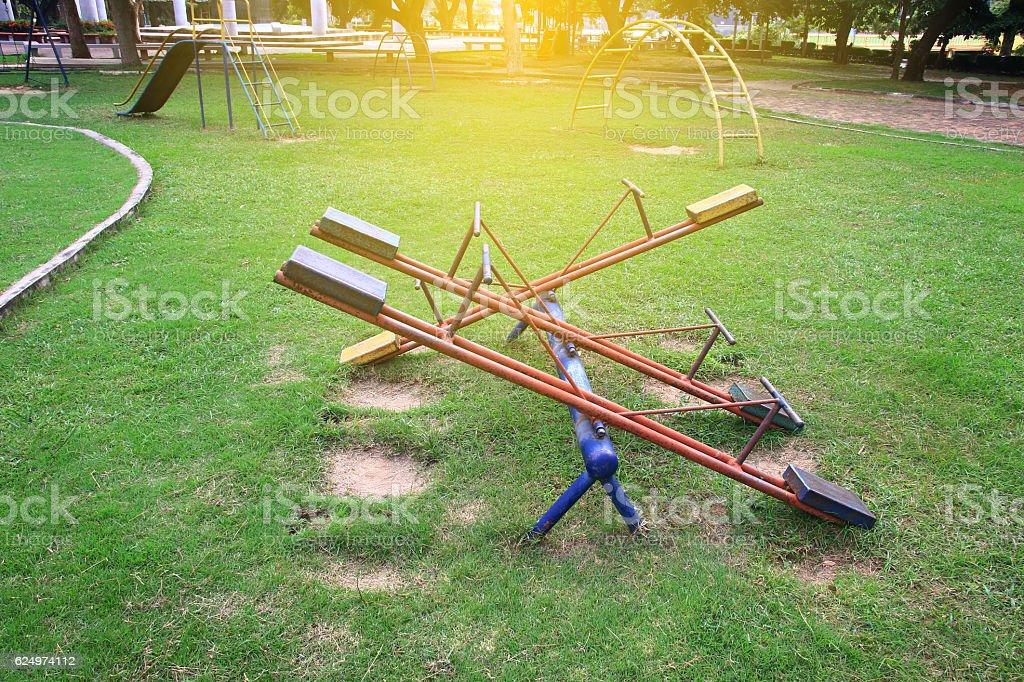 Children playground with sunlight,teetering board - foto de stock