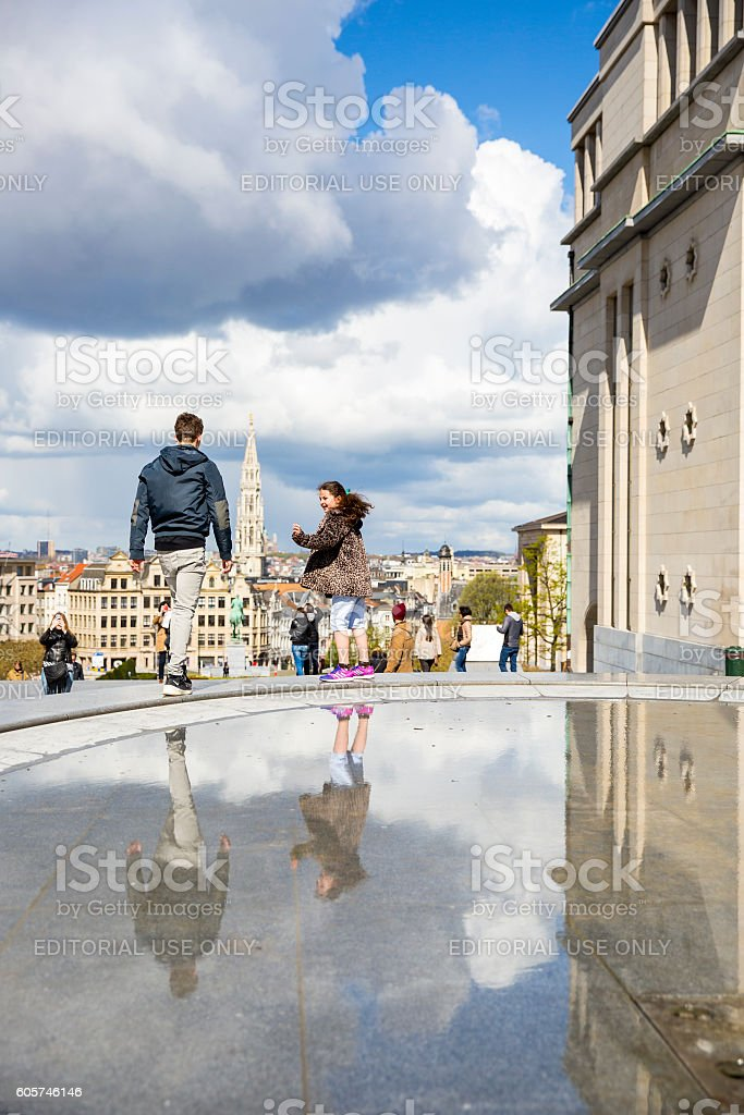children playing around fountain at Mont des Arts, Brussels stock photo