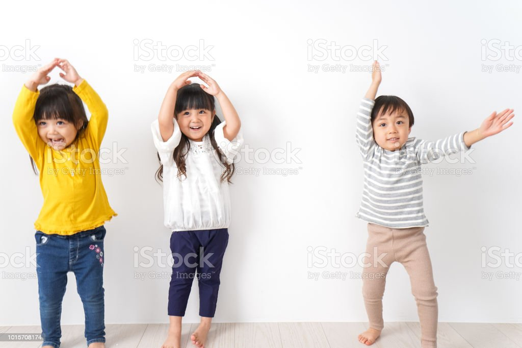 Children playing at home stock photo
